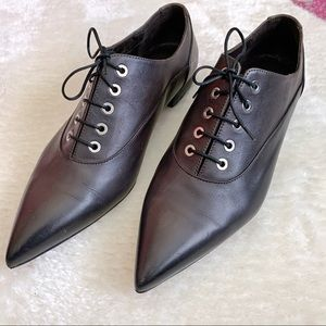 Point-toe Lace Up Oxfords Italian Leather